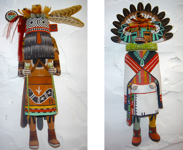 Traditional Hopi Tribe Katsina Dolls, carved by Ernie Moore