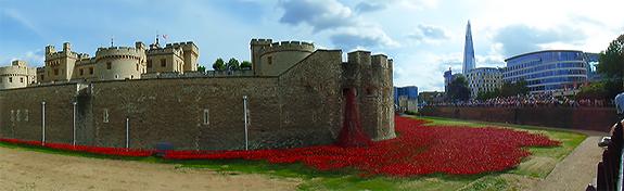 Ceramic Poppy War Memorial Installation by Paul Cummins. 1914-2014.