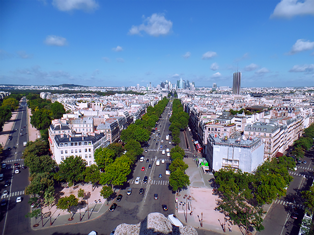 View from atop the Arc de Triomphe. Paris, France.
