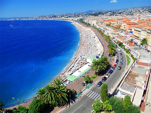 Côte d'Azur, literally translates as Azure Coast. In English, it's also known as the French Riviera. Nice, France.
