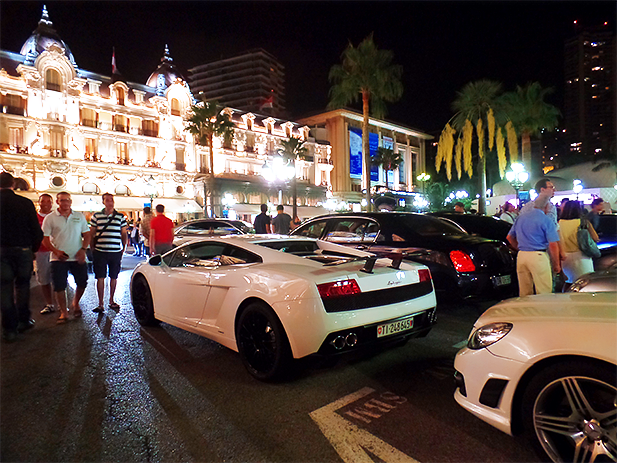 The casinos in Monaco are surrounded by luxury cars