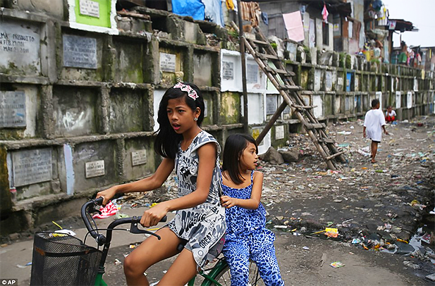 Two young Manila North Cemetery residents riding a bike beside stacked tombs. Photo credit: AP