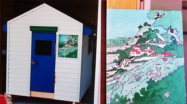 My mom painted the country scene on the front window of the playhouse my parents built me.