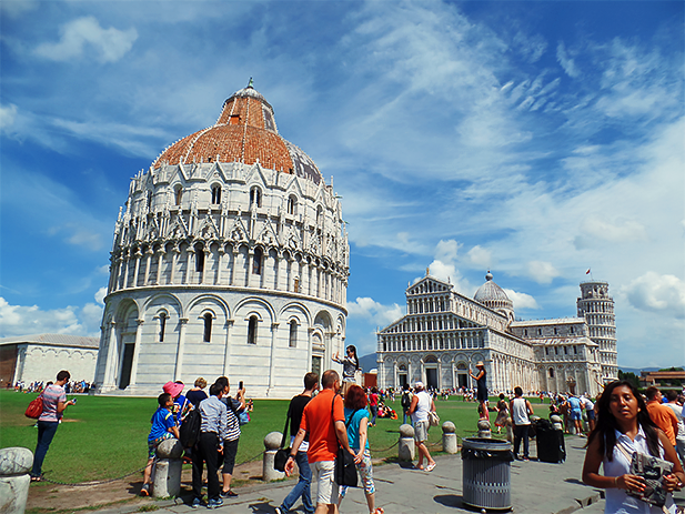 Pisa Baptistry, Pisa Cathedral, and the Leaning Tower of Pisa