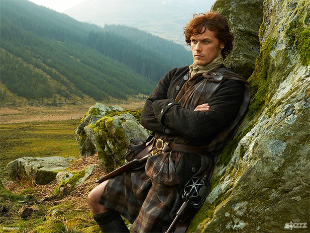 Traditional Highland tartan kilt and plaid costume on the Starz series Outlander. Photo credit: Starz